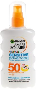 GARNIER AMBRE SOLAIRE Advanced Sensitive Kids 50+ | Protetores solares: o teste